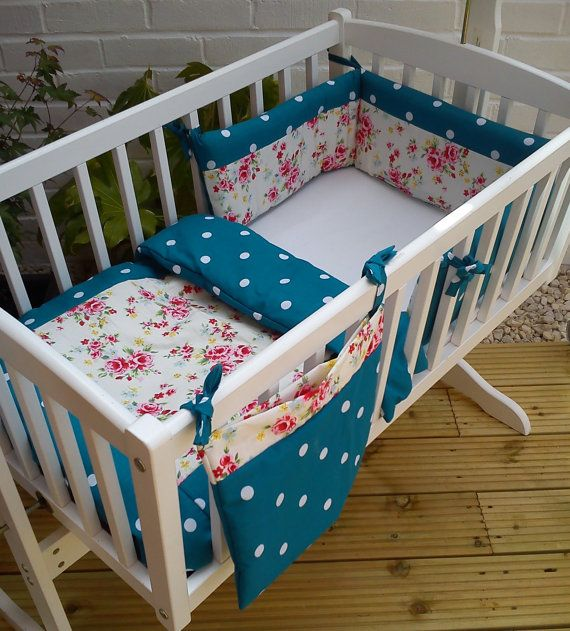 Shabby Chic Floral Crib Cradle bedding Bumper and Quilt trimmed with Teal Polka Dot on Etsy, $56.15