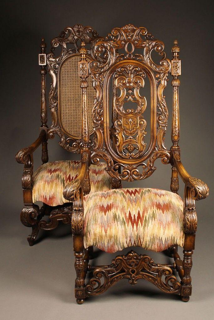 ~ Pair of 19th c. Carved Mahogany Gents & Ladies Arm Chairs c. 1880-90 ~ beauchampantiques.com