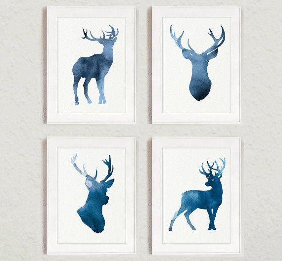 Navy Deer Set of 4 Giclee Art Print Blue Deer by Silhouetown