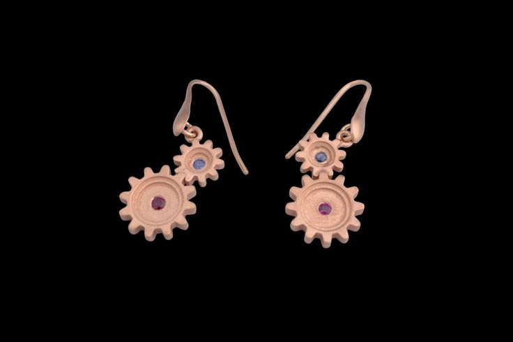 #silver #rosegold #gold #cogs #gears #earrings #ruby #sapphire #finejewellery #jewellery #preciousstones #gems #gemstones #industrial