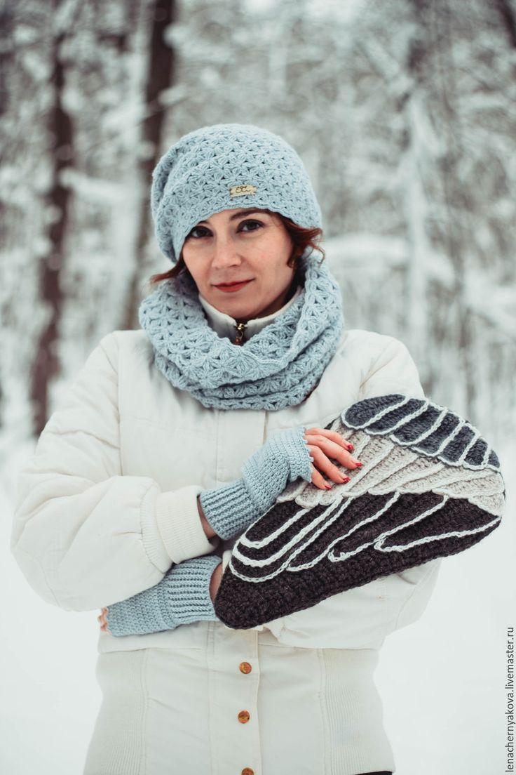 """Купить Клатч вязаный """" Крыло снегиря"""" - темно-серый, снегирь, снегири, крыло, крылья"""
