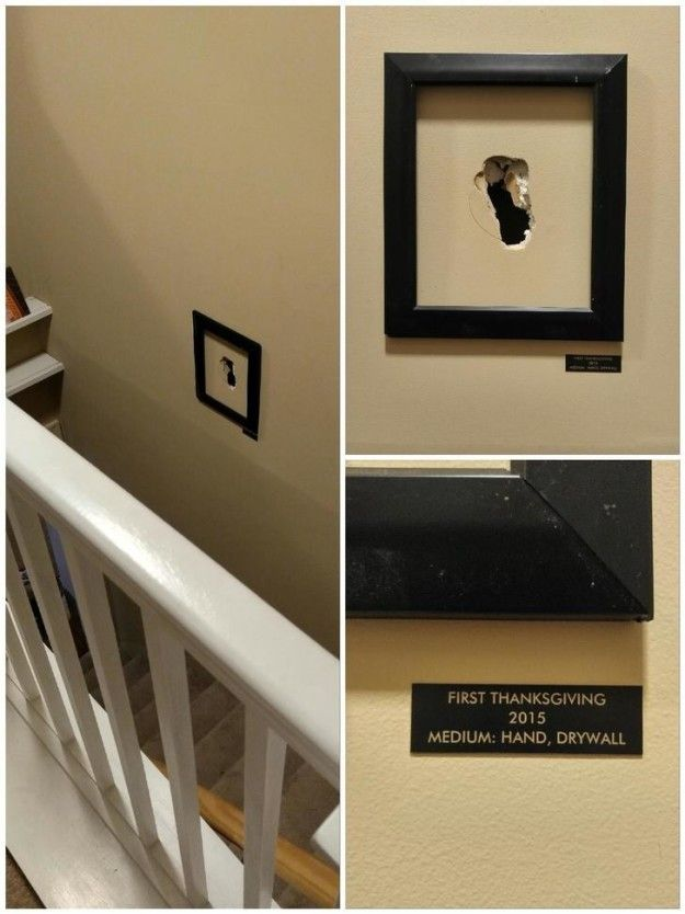 This boyfriend who fell down the stairs and decided to commemorate it instead of fixing it.
