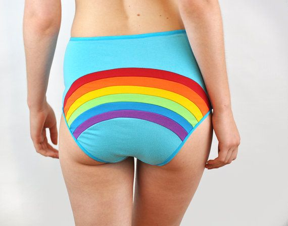 Rainbow panties with clouds rain and sun lingerie by knickerocker #rainbowunderpants