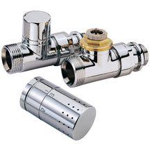Kit robinet radiateur thermostatique design chromé ALTERNA. droit 15x21 Réf…