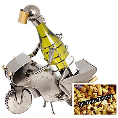 brubaker porte bouteille de vin d coratif sculpture en m tal id e cadeau pilote moto. Black Bedroom Furniture Sets. Home Design Ideas