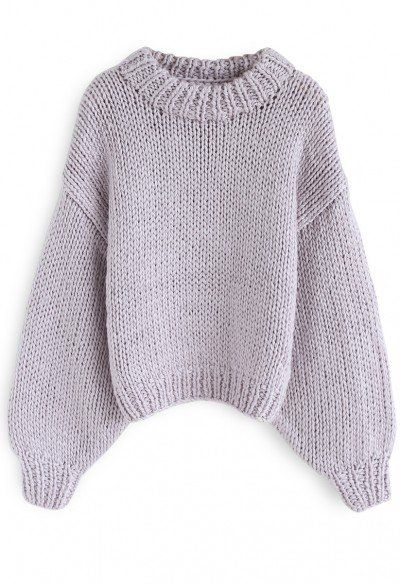77f788d26a Chunky Chunky Puff Sleeves Cropped Sweater in Lavender