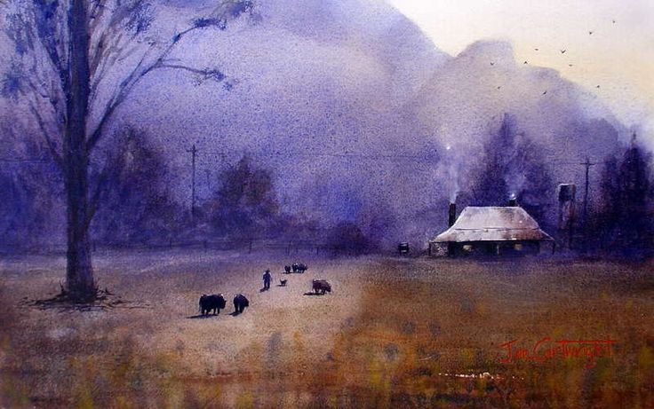 Going Home - Glen Davis watercolor painting of homestead in the last daylight with smoking chimney