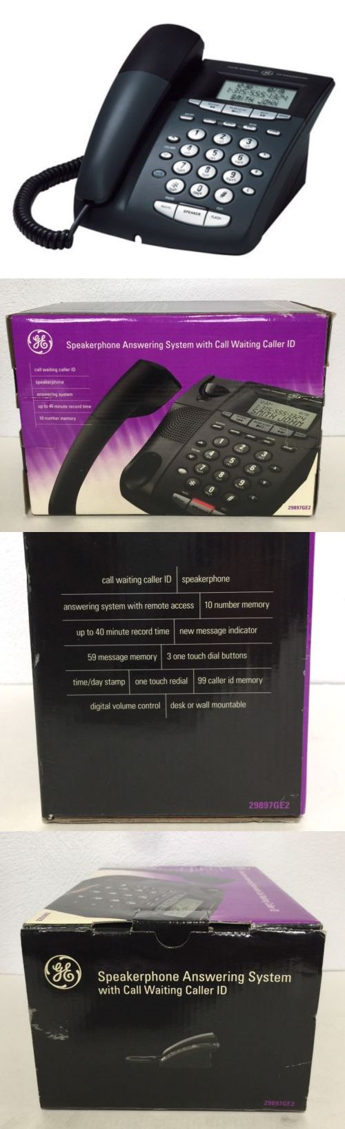 Corded Telephones: Ge Corded Phone With Caller Id Digital Answering Machine 29897Ge2 Black New -> BUY IT NOW ONLY: $49.99 on eBay!