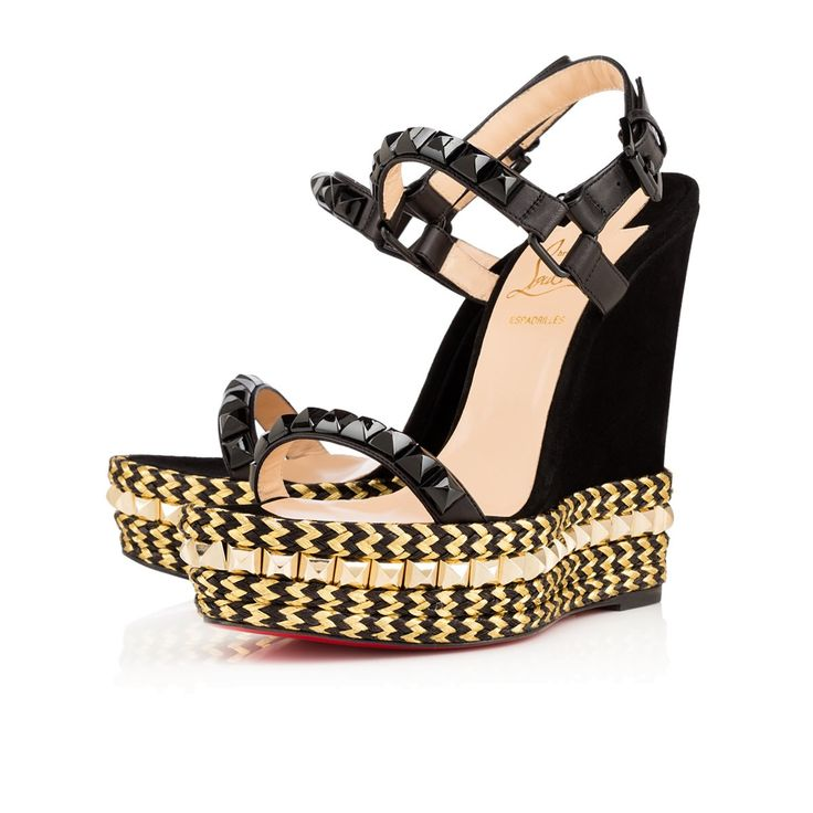 black and gold christian louboutin wedges