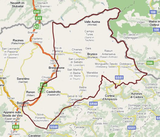 Interactive map of Dolomites w/ camping, boarding info