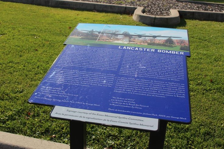 Signage of the Lancaster Bomber at the Jackson Park Spitfire and Hurricane Memorial in Windsor, seen on November 18, 2016. (Photo by Ricardo Veneza)