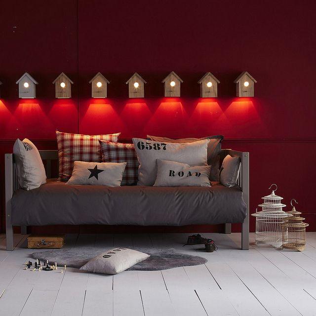 La redoute kid's stuffWall Lamps, Red Wall, Home Decor Ideas, Kids Stuff, Grey Home Decor, Room Decor, Kids Room, Grey Sofas, Boys Room