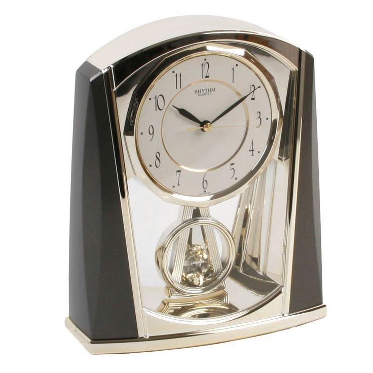 rhythm modern mantel clock black and grey swinging pendulum - Mantle Clock