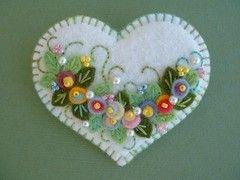 Etsy :: Beedeebabee :: Felt Flower Applique Heart Pin