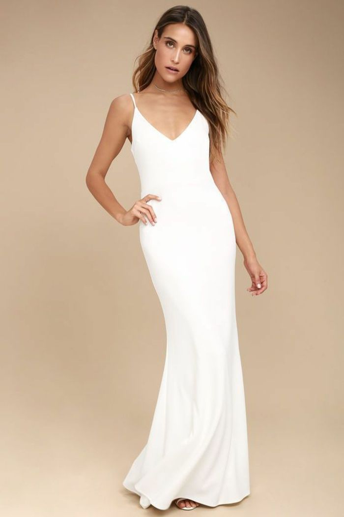 Robe longue moulante bretelle