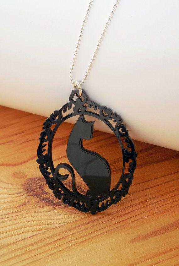 Black Cat Laser Cut Necklace - Black Acrylic Silhouette Statement Jewellery