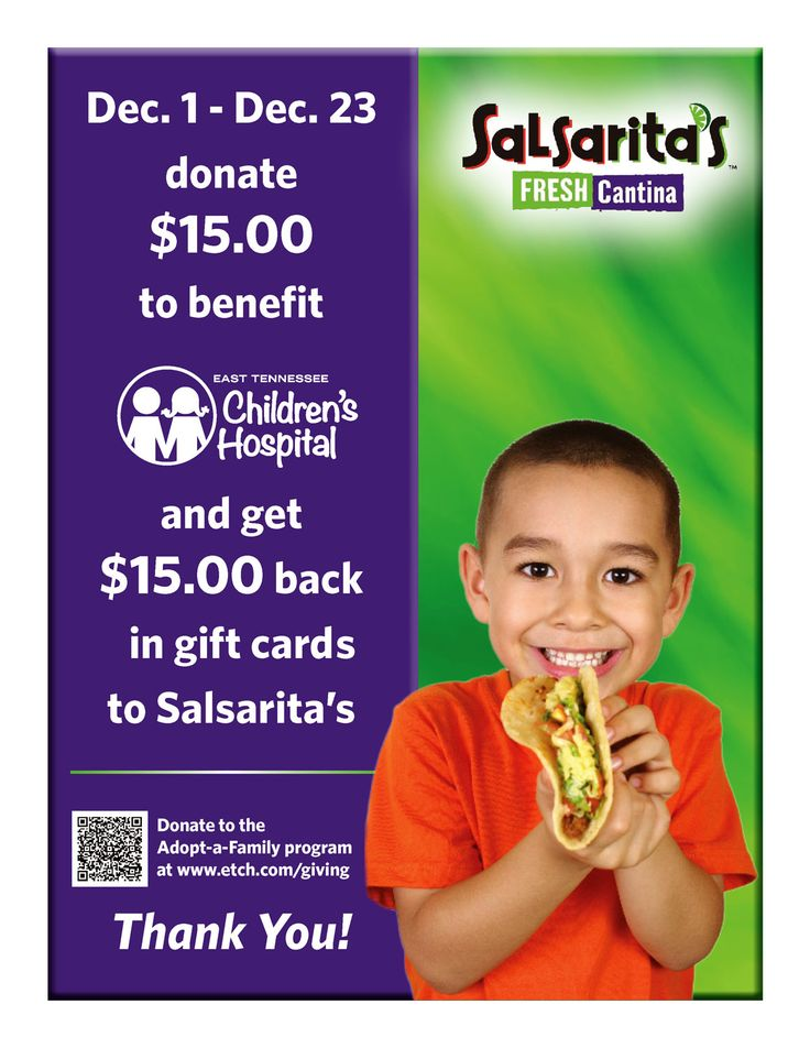 """Every $15 you donate East Tennessee Children's Hospital's """"Adopt-A-Family"""" program gets you $15 in Salsarita's gift cards in return. This generous offer is only good through Dec. 23rd, so donate today! https://www.etch.com/giving/"""