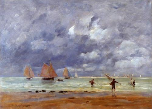 Fishermen and Sailboats near Trouville - Eugene Boudin