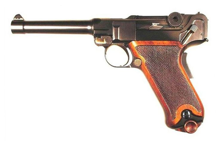 Georg Luger designed a custom .45 caliber version of his Parabellum pistol for the U.S. military pistol trials of 1911. Two prototypes were originally manufactured, and at least two revised pistols with a different grip angle were made shortly thereafter for possible commercial or military sales. The Colt-Browning M1911 was awarded the service production contract. This image is of an exact duplicate of the Luger design, handmade by Mike Krause.