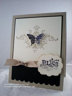 Bliss - Stampin Up. Love the look of a butterfly centered on a damask print. Maybe could do this on a larger scale as wall art.
