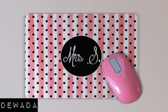 personalized MOUSE PAD pink stripes Mousepad black by DeWadaSTORE