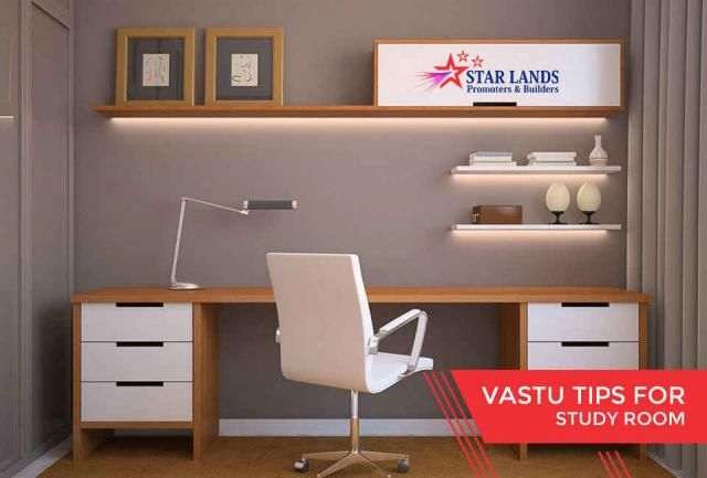 Study Room #Vastu tips for #study #room – The book shelf should never be planned above the study table – The book rack should be in the south or the western wall – The shape of the study table should either be square or rectangle – Children should face towards East or North while studying – One should prefer not to have the toilets in the study room, however bathrooms are fine