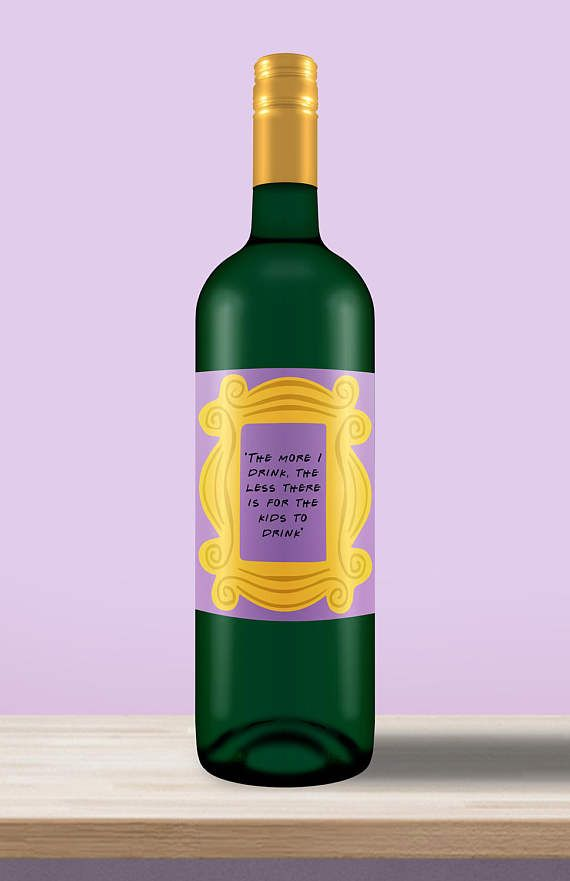 Friends TV Show Theme  Wine Label  Peephole Frame  The More