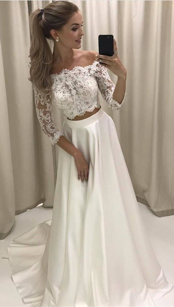 Two Piece Off The Shoulder 3 4 Sleeves White Satin Prom Dress With Lace