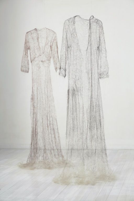 'Exhale' by Helen Pynor (delicate ethereal dress sculptures made with knitted hair)