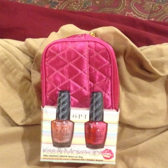 """OPI Nail Laquers with bonus bag Brand New! OPI Gift Set Brand New-2 Nail Laquers and Make-Up Bag! Includes """"Princesses Rule & Strawberry Margarita"""". Both beautiful colors and a bonus make up bag! Such a great deal! Brand new-sealed and never opened!! OPI Makeup"""