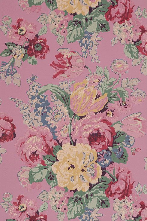 Anna French Wallpaper and Fabric - Wild Flora - Bouquet - Pink