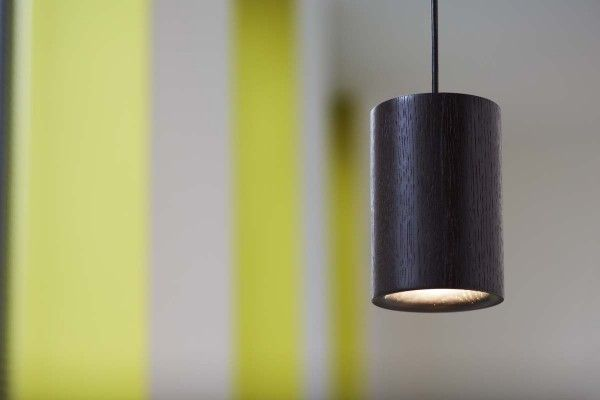 Black Stained Oak Cylinder Pendant | ArchetypalArchetypal