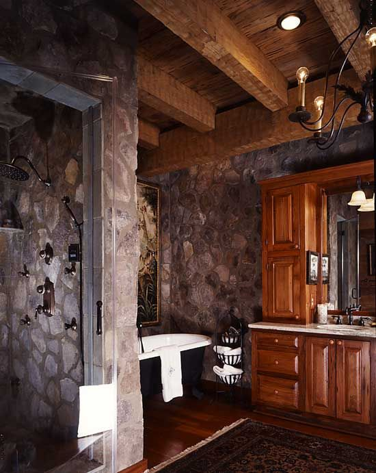 Cabin master bathroom designs natural stone adding to for Log home bathroom ideas