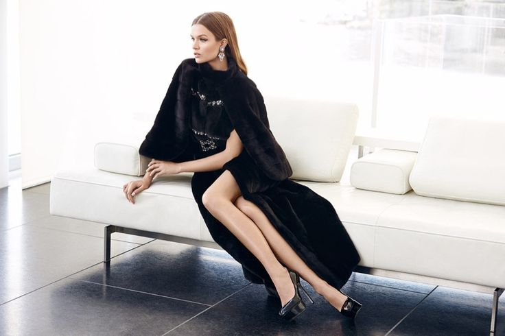 The model wears fur by Guy Laroche