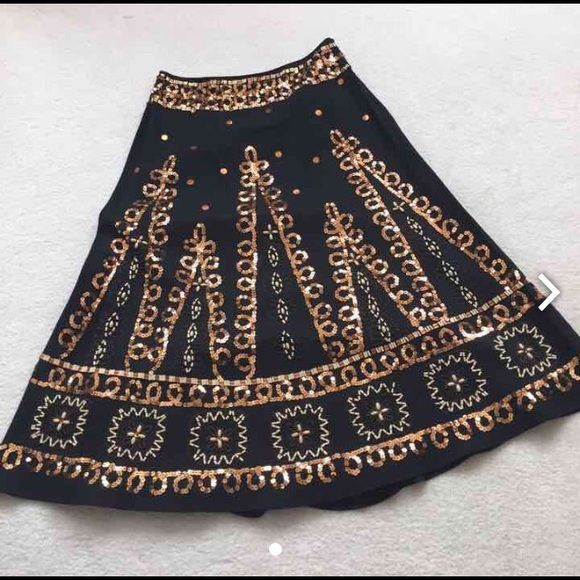 "Vintage Lillie Ruben Sequins & Beads Black Skirt. Vintage Lillie Ruben Black Linen/Cotton with sequins and beads skirt.  Size M  Measurements:  15"" Waist  32"" Length    Gently worn, excellent condition.                          No trade, no holding, no off sight payment Lillie Ruben Skirts Midi"