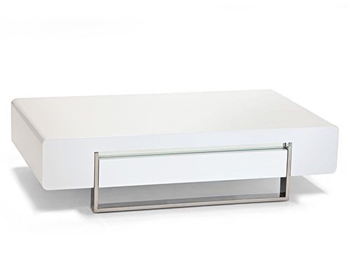 Lacquer and stainless steel coffee table including 1 drawer.