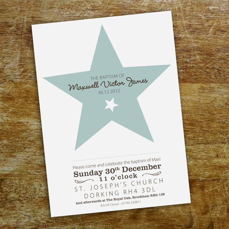 An A5 'Star' christening invitation in baby blue on white card.