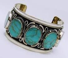 jewrerlry from mexco | SILVER TURQUOISE 5-STONE CUFF BRACELET