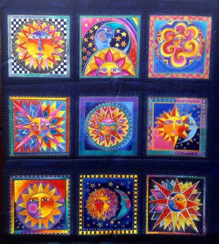 Laurel burch celestial dreams fabric panel quilt cotton for Fabric with moons and stars