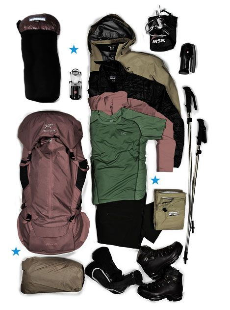 hiking bag, moisture-wicking tee, muted pastel moss + dusty rose palette
