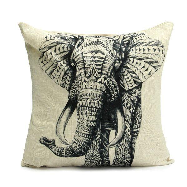 45x45cm Elephant Pattern Fashion Cotton Linen Beige Pillow Case Home Sofa Cushion Decor