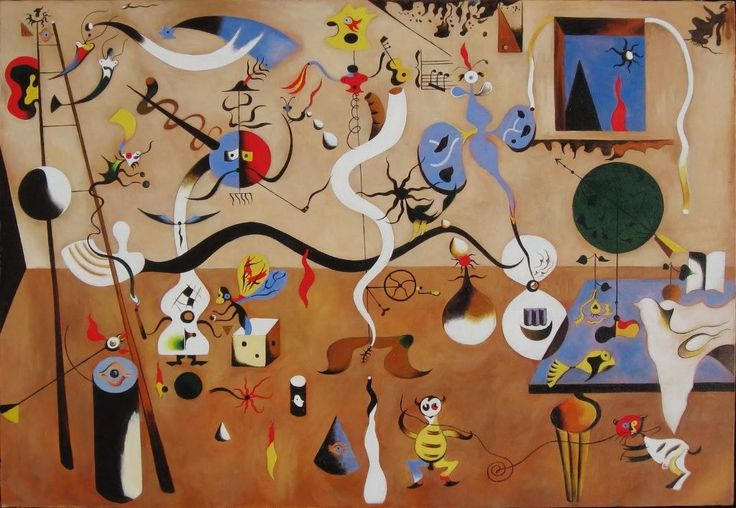 Joan Miró – The Harlequin's Carnival. Creations of artists that lived in an undending nightmare, their depression and diseases lead them to seak refuge in art.