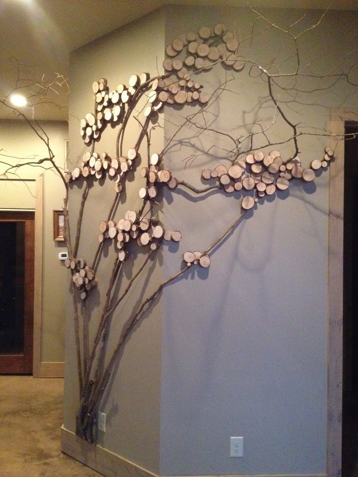 Tree art, twig art for wall decor, wall art with mountain laurel twigs, wood slices