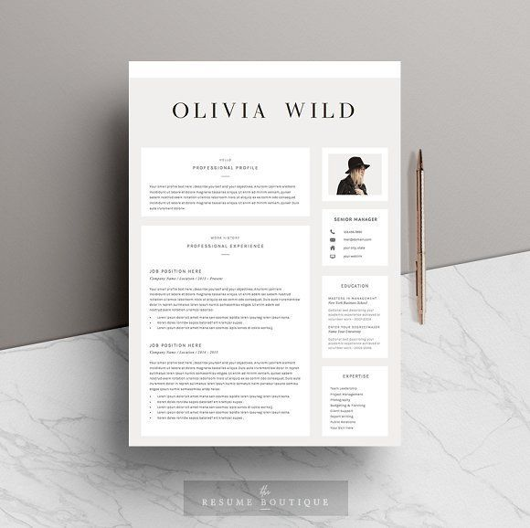 5 page Resume Template | Ultra Chic by The.Resume.Boutique on @creativemarket Ready for Print Resume template examples creative design and great covers, perfect in modern and stylish corporate business. Modern, simple, clean, minimal and feminine layout inspiration to grab some ideas.