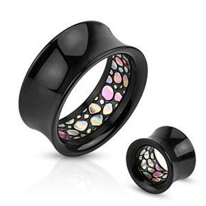 """!!! BRAND NEW !!! Just In !!! Abalone Pattern Inlay Inside of Black Acrylic Hollow Saddle Plug for Stretched Ear Lobe Gauges 0g - 1"""""""
