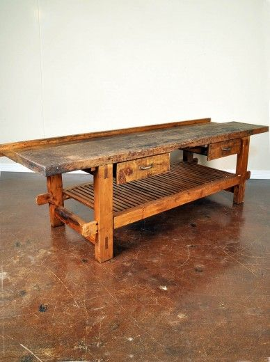 Antique French Work Bench   As Kitchen Island