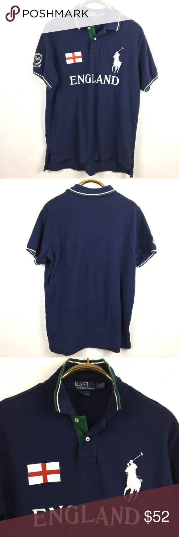 """MENS Polo Ralph Lauren ENGLAND shirt Classic polo by Ralph Lauren. Left chest features embroidered 5""""  iconic polo player. ENGLAND embroidered on the front chest. English flag patch on right chest. Wimbledon patch on right sleeve. 2 buttons at neck.  Approximate measurements; armpit xarmpit 23"""" shoulder to front hem 28"""". Original retail $198.00 excellent preowned condition Polo by Ralph Lauren Shirts Polos"""