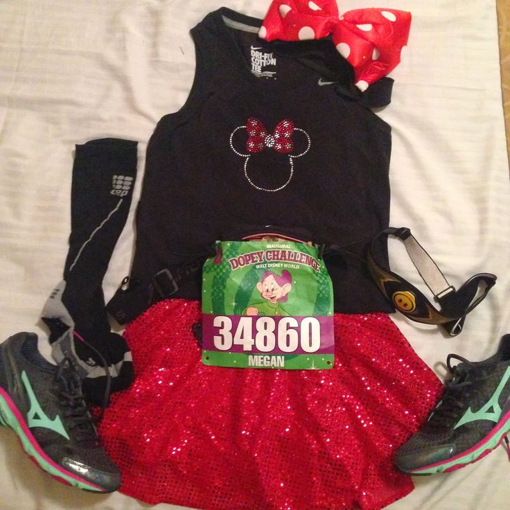 I Run For Wine - Dopey Challenge, running at Disney, 10K, Minnie Mouse Costume