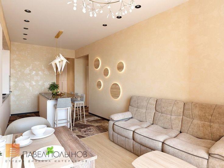 Фото дизайн кухни-гостиной из проекта «Дизайн проект 1-комнатной квартиры 70 кв.м. в ЖК «Риверсайд», современный стиль»