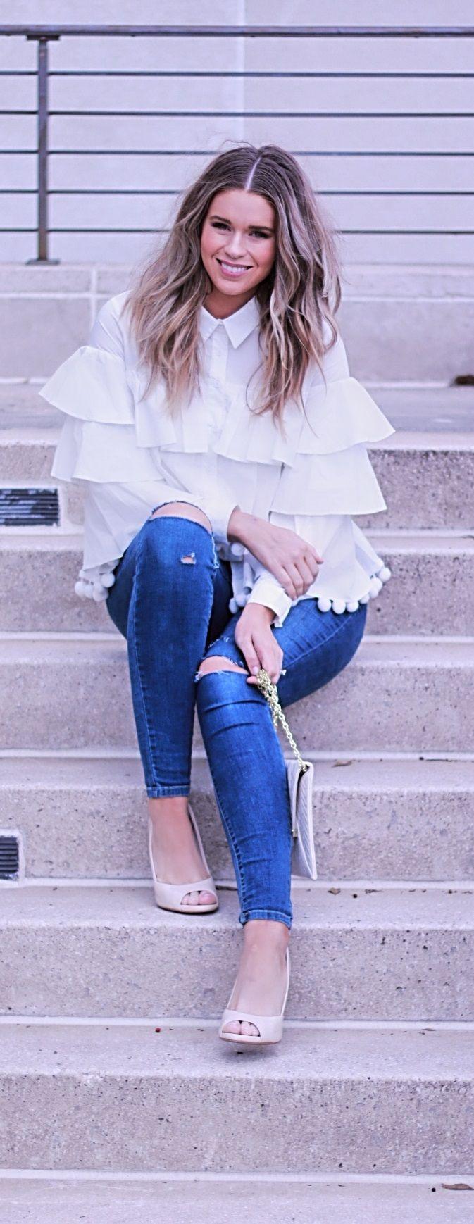 high fashion ruffle and pom pom top endless rose 2017 fashion blogger:
